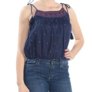 Free People Embroidered Tassel Tie Top